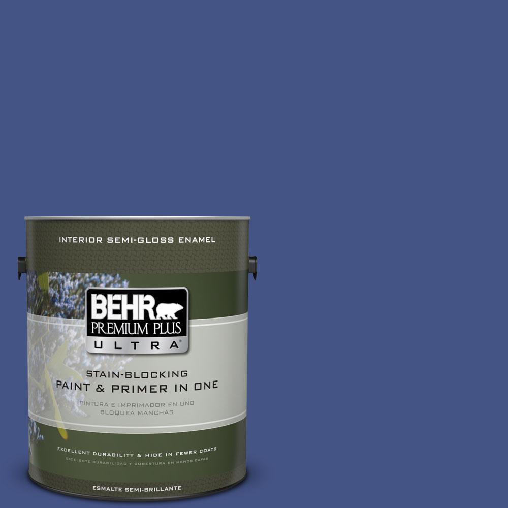 1 gal. #600B-7 Yacht Club Blue Semi-Gloss Enamel Interior Paint and