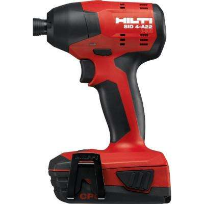 22-Volt Lithium-Ion 1/4 in. Hex Cordless SID 4 Compact Impact Driver with DC Car Charger