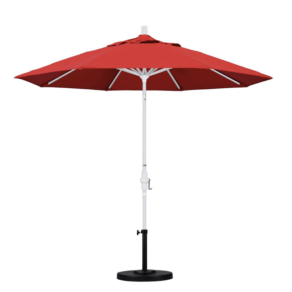 9 ft. Aluminum Collar Tilt Patio Umbrella in Red Olefin
