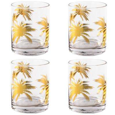 Gold Palm Tree Double Old Fashioned Glasses (Set of 4 )