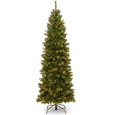 North Valley Spruce Pencil Slim Artificial Christmas Tree with Clear Lights - Slim - Pre-Lit - 6.5 Ft - Pre-Lit Christmas Trees - Artificial