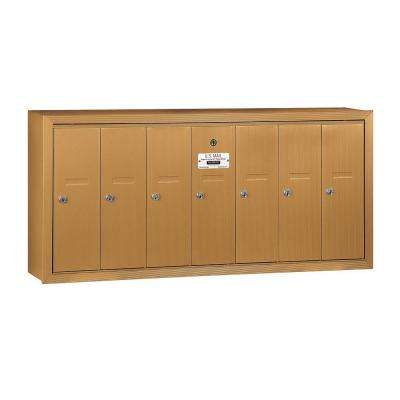 3500 Series Brass Surface-Mounted Private Vertical Mailbox with 7 Door