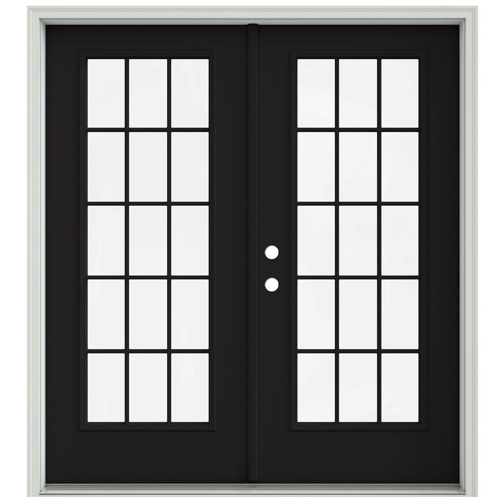 Jeld Wen 72 In X 80 In Black Prehung Right Hand Inswing