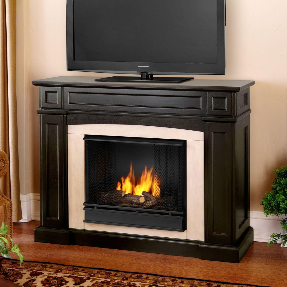Real Flame Rutherford 47 in. Gel Fuel Fireplace in Dark Walnut