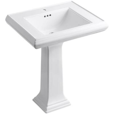 Memoirs Ceramic Pedestal Bathroom Sink in White with Overflow Drain