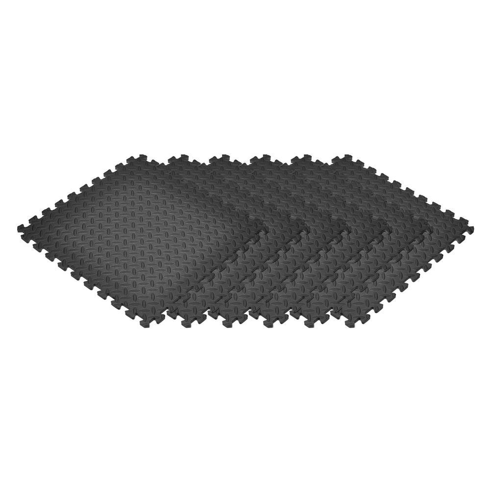 Black 24 in. x 24 in. EVA Foam Solid Color Diamond Plate Interlocking Tile (48-Tile)