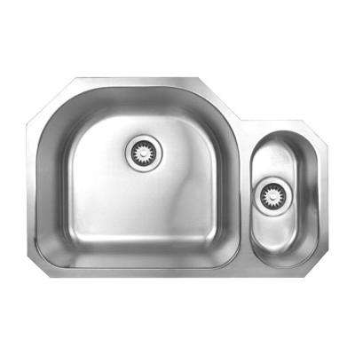 Noah's Collection Undermount Brushed Stainless Steel 31.5 in. 0-Hole Double Bowl Kitchen Sink