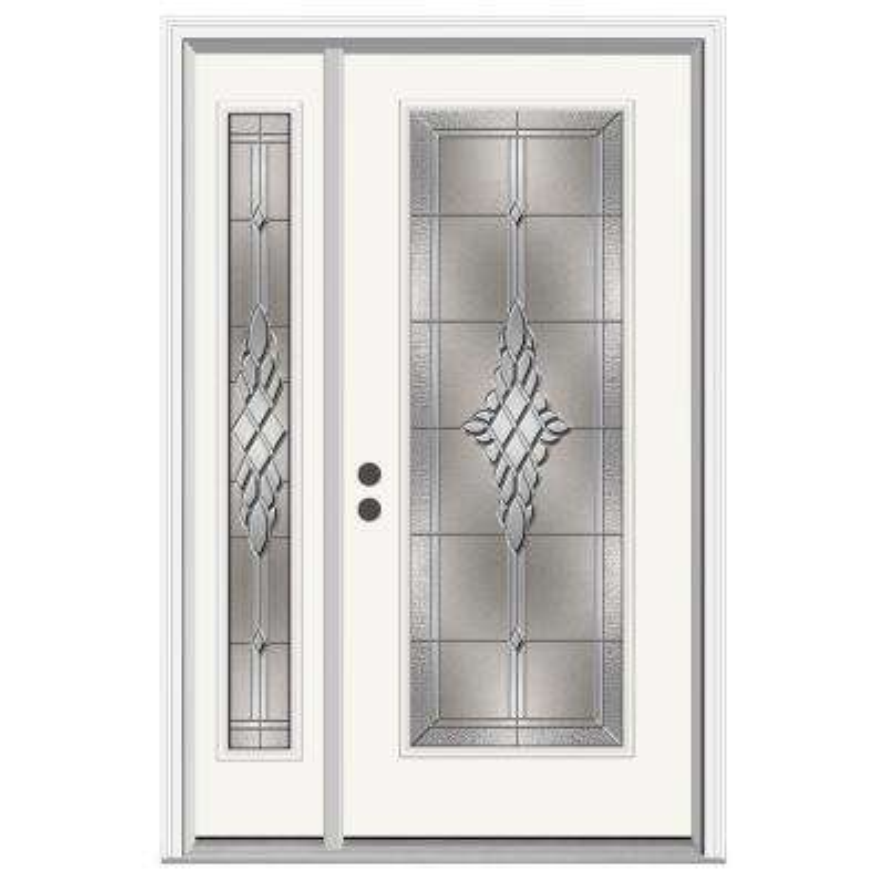 52 in. x 80 in. Full Lite Hadley Primed Steel Prehung Right-Hand  sc 1 st  The Home Depot & Single door with Sidelites - Steel Doors - Front Doors - The Home ... pezcame.com