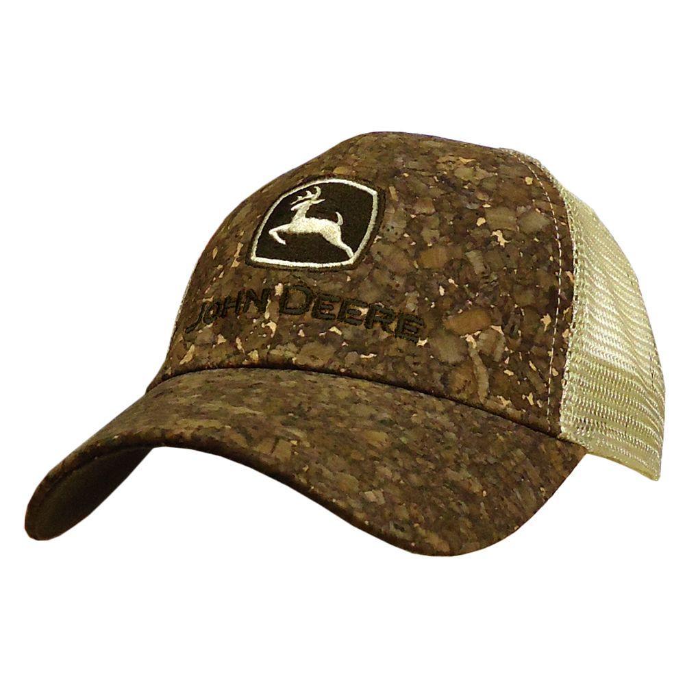 John Deere Tree Bark Mesh Back Trucker Cap/Hat in Brown