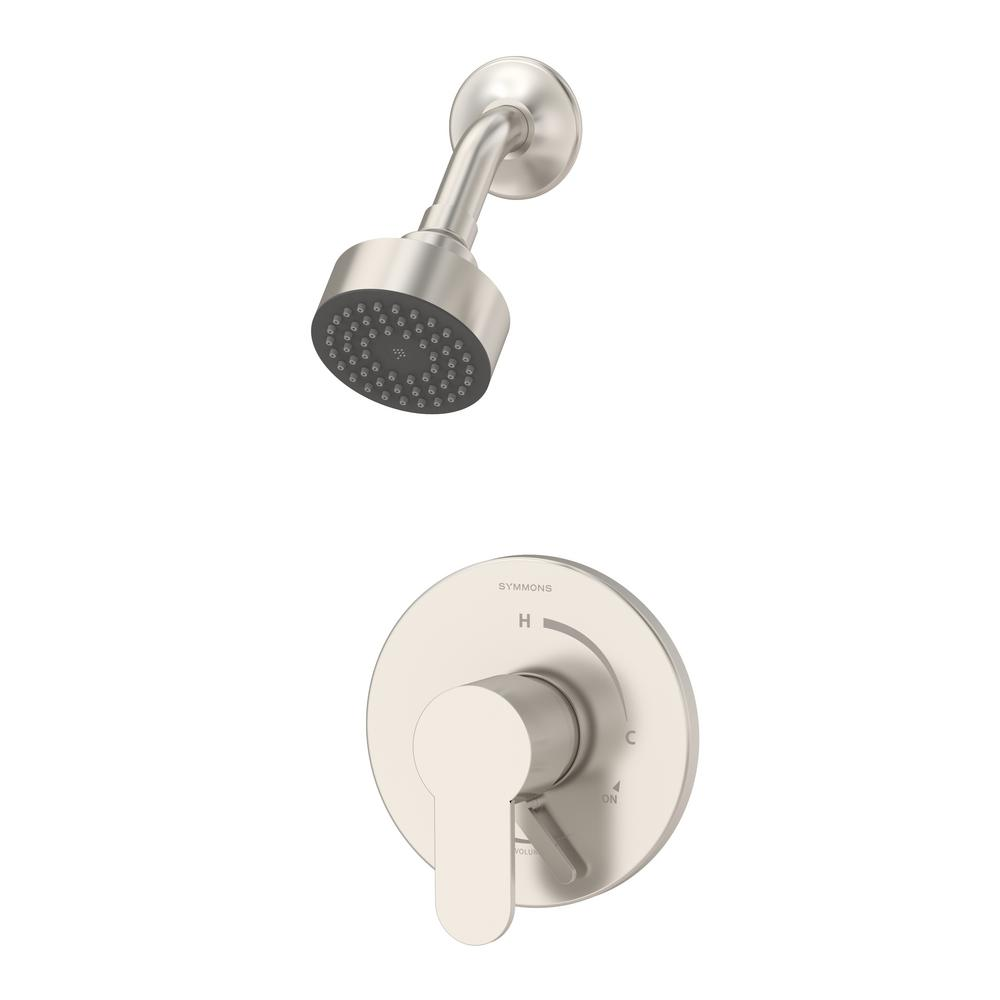 Identity Single-Handle 1-Spray Shower Faucet with Volume Control Lever in Satin