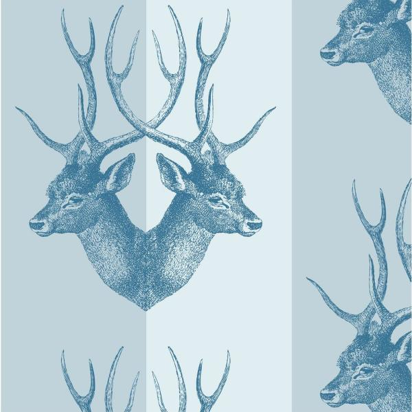 Mitchell Black Debut Collection Stag in Blue Steel Removable and Repositionable Wallpaper