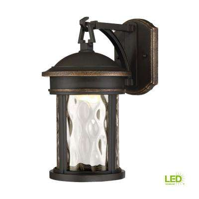 13 in. LED Olympic Bronze Outdoor Wall Lantern with Clear Hammered Glass Shade
