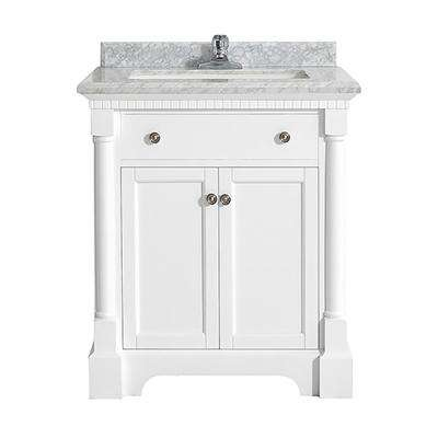 Claudia 30 in. W x 22 in. D Vanity in Pure White with Marble Vanity Top in Carrara with White Basin