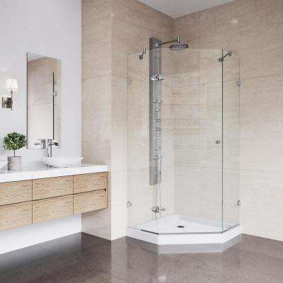 Verona 42.125 in. x 76.75 in. Frameless Neo-Angle Shower Enclosure in Chrome with Clear Glass and Low-Profile Base