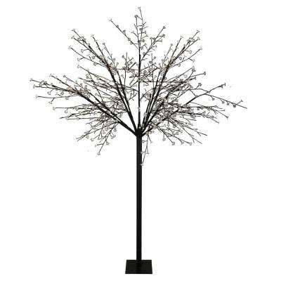 8 ft. Multi-Function LED Lighted Cherry Blossom Flower Tree and Pure White Lights