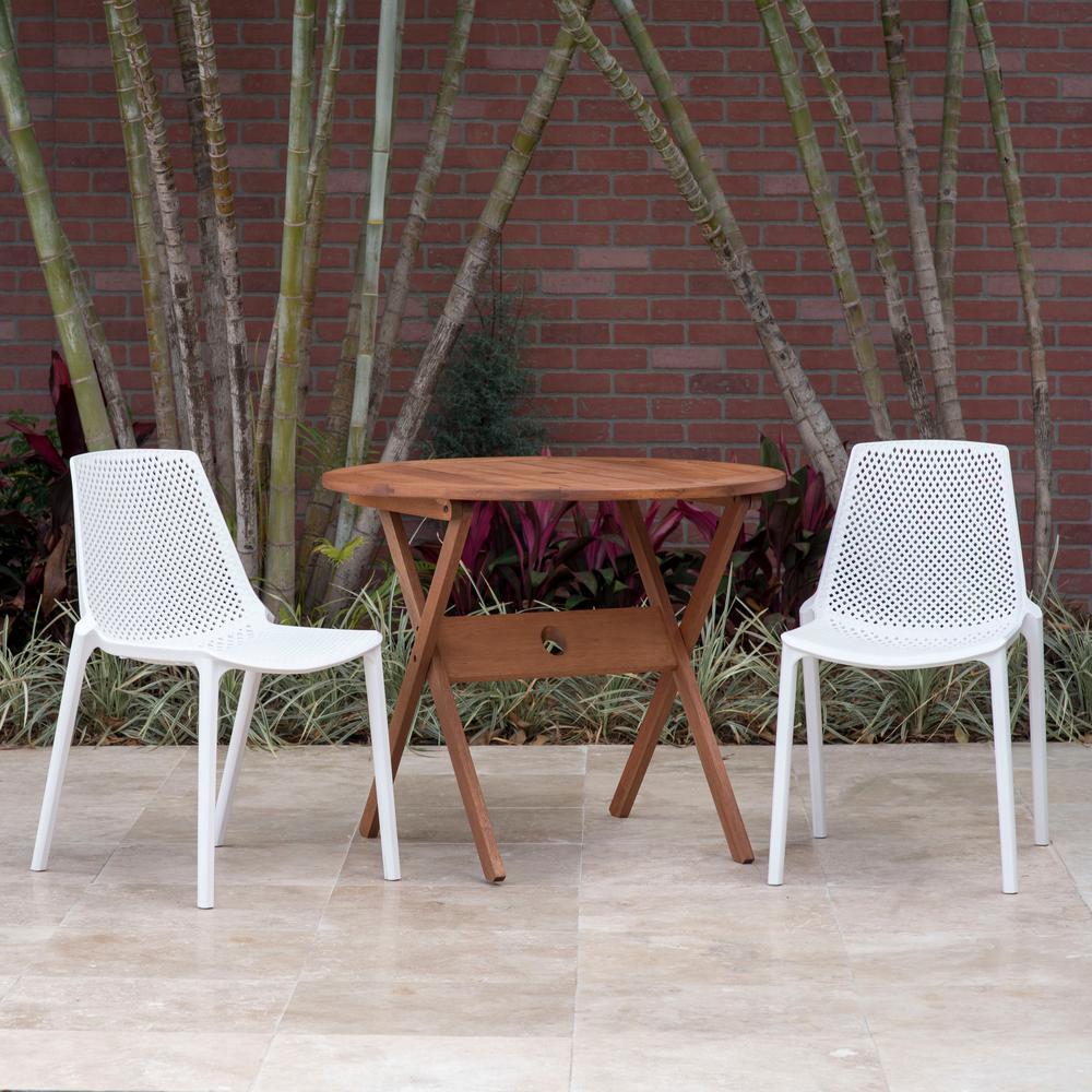 Amazonia San Diego 3 Piece Eucalyptus Round Patio Outdoor Bistro Set Bt 315 2valside Wht The Home Depot