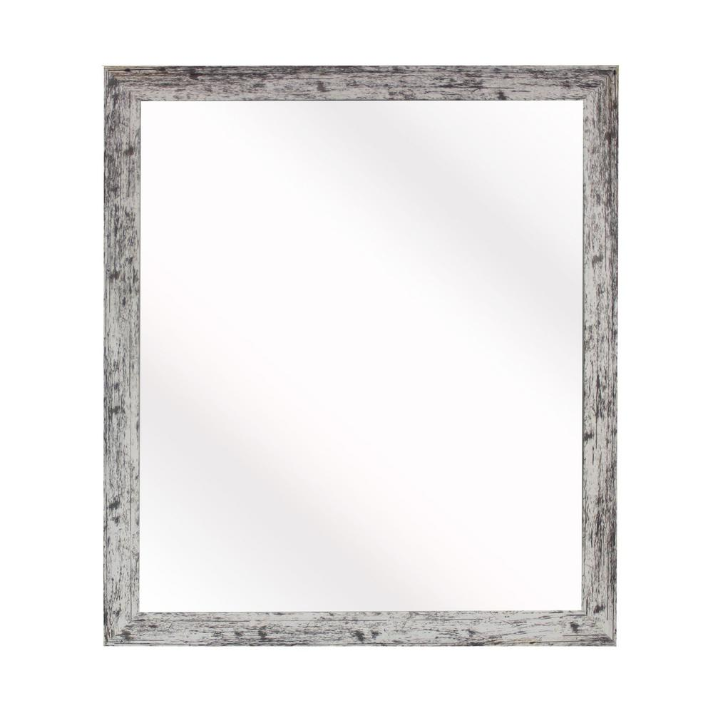 21.5 in. x 21.5 in. Weathered White Farmhouse Square Mirror-V093-16 ...