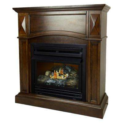 20,000 BTU 36 in. Compact Convertible Ventless Propane Gas Fireplace in Cherry