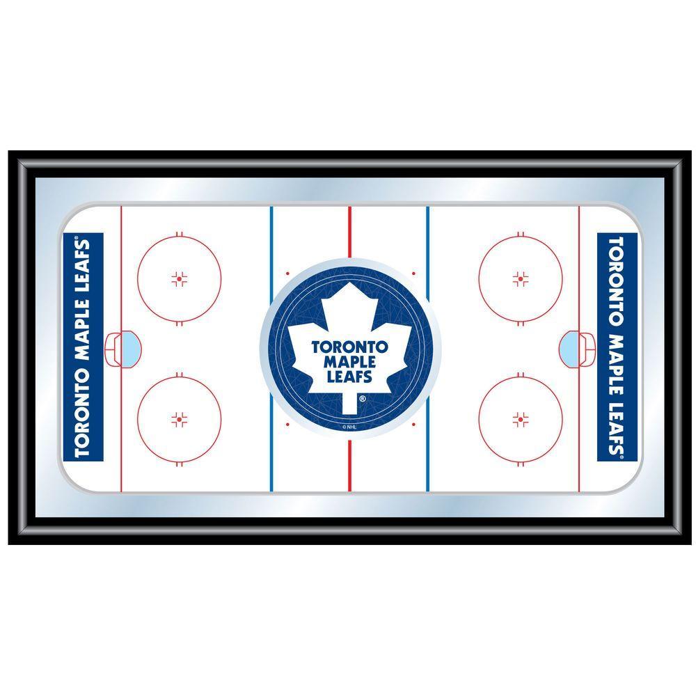 null NHL Toronto Maple Leafs 15 in. x 26 in. Black Wood Framed Mirror