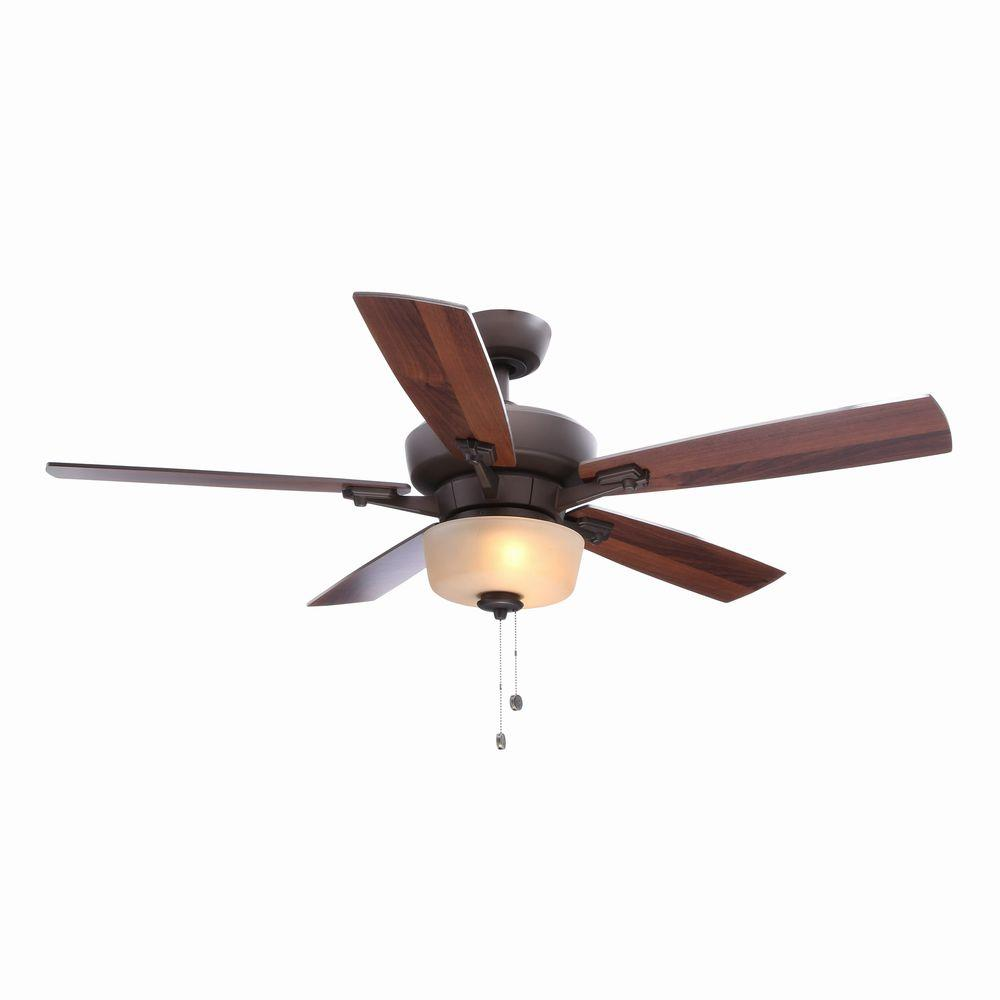 Hampton Bay Hawthorne II 52 in. Indoor Oil-Rubbed Bronze Ceiling Fan with Light Kit