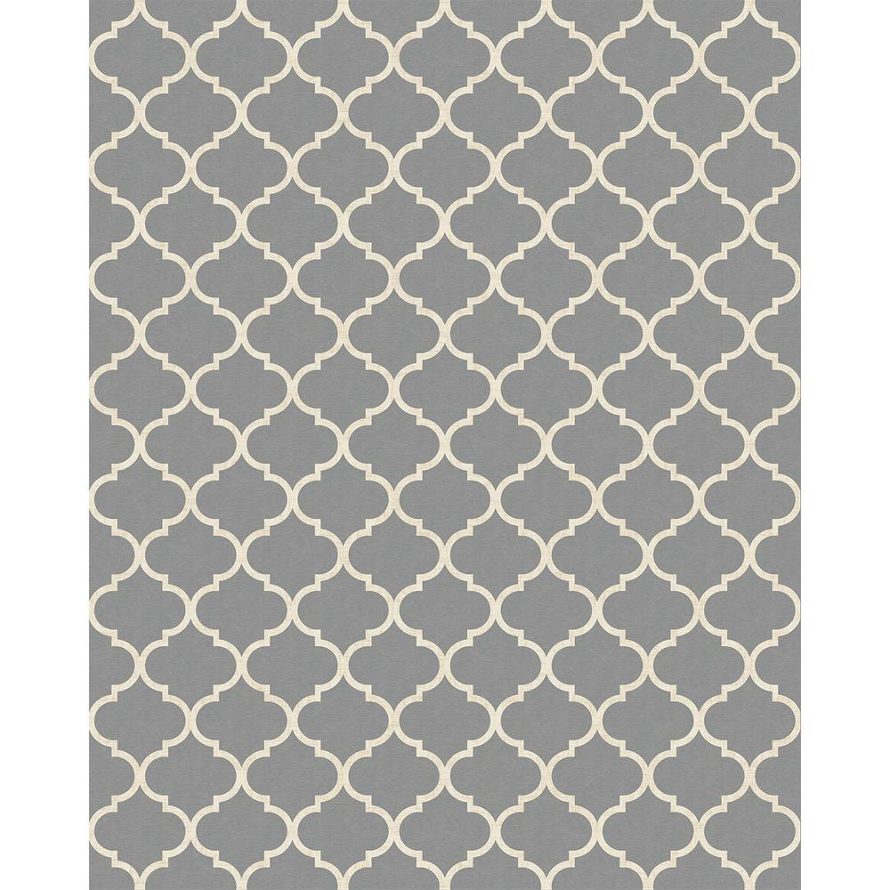 Ruggable Washable Moroccan Trellis Lt Grey 8 Ft X 10 Area Rug