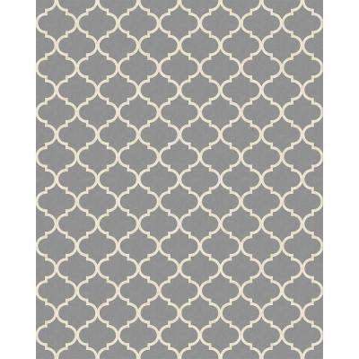 Washable Moroccan Trellis Lt. Grey 8 ft. x 10 ft. Area Rug
