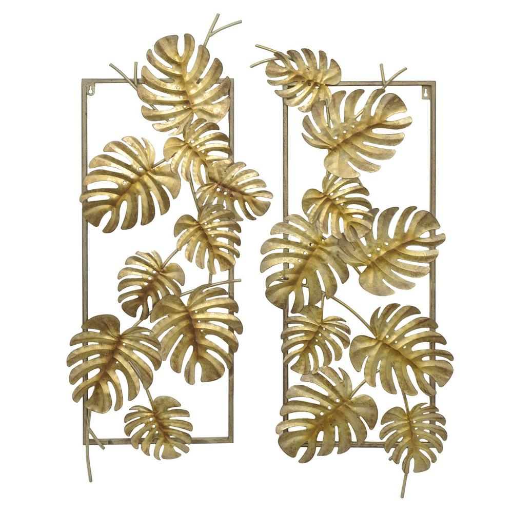 Three hands gold metal tropical leaves wall decor set of for Tropical metal wall art