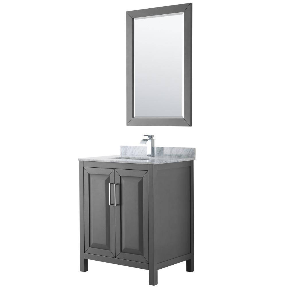Wyndham Collection Daria 30 in. Single Bathroom Vanity in Dark Gray with Marble Vanity Top in Carrara White and 24 in. Mirror