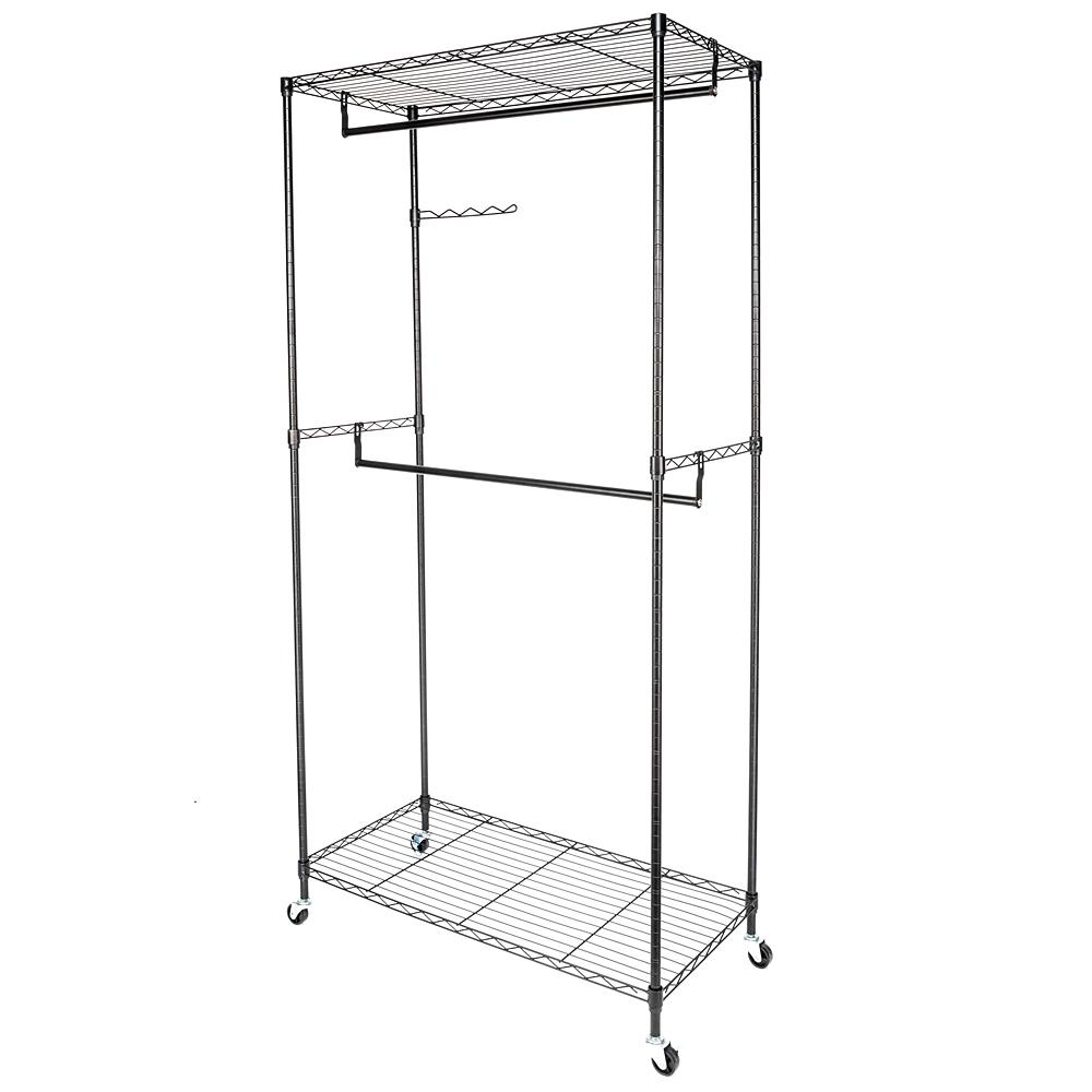 35 in. x 71 in. Black Carbon Steel Coating Garment Rack