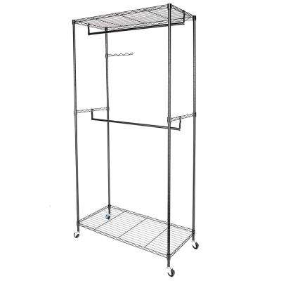 35 in. x 71 in. Black Carbon Steel Coating Garment Rack Hanger with Double Rods and Shelves