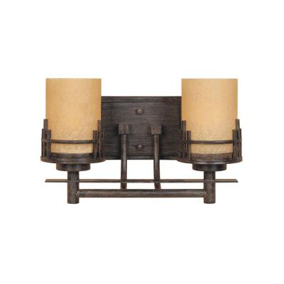 Mission Ridge 2-Light Warm Mahogany Wall Mount Vanity Light