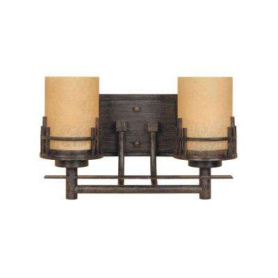 Mission Hills Collection 2-Light Warm Mahogany Wall Mount Vanity Light