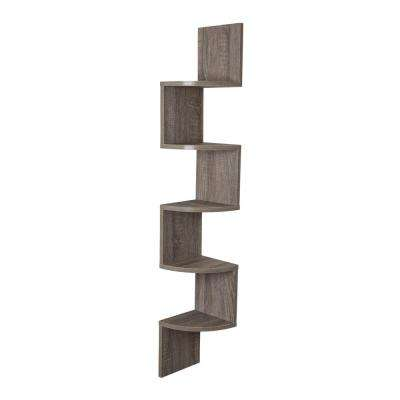 Zig Zag 7.75 in. W x 7.75 in. D Floating Laminate Corner Wall Decorative Shelf in Weathered Oak Finish