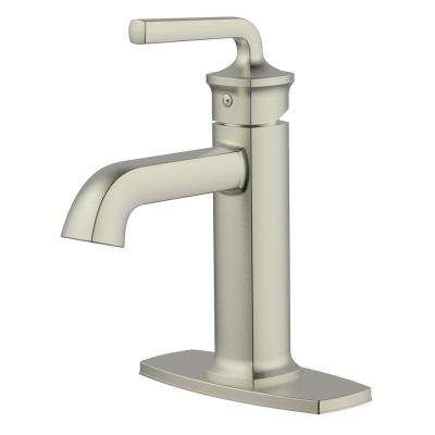 Chesapeake Single Hole 1-Handle Bathroom Faucet with Drain Assembly and Optional Deck Plate in Brushed Nickel
