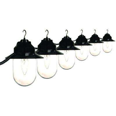 6-Light Outdoor Old Savannah String Lights with Black Housing and Clear Globes