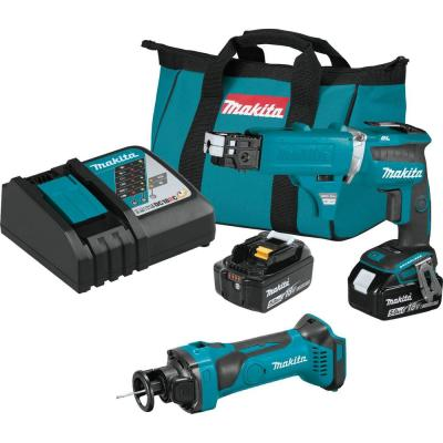 18-Volt 5.0 Ah LXT Cordless Combo Kit with Autofeed Magazine (Brushless Drywall Screwdriver/Cut-Out Tool) (2-Piece)