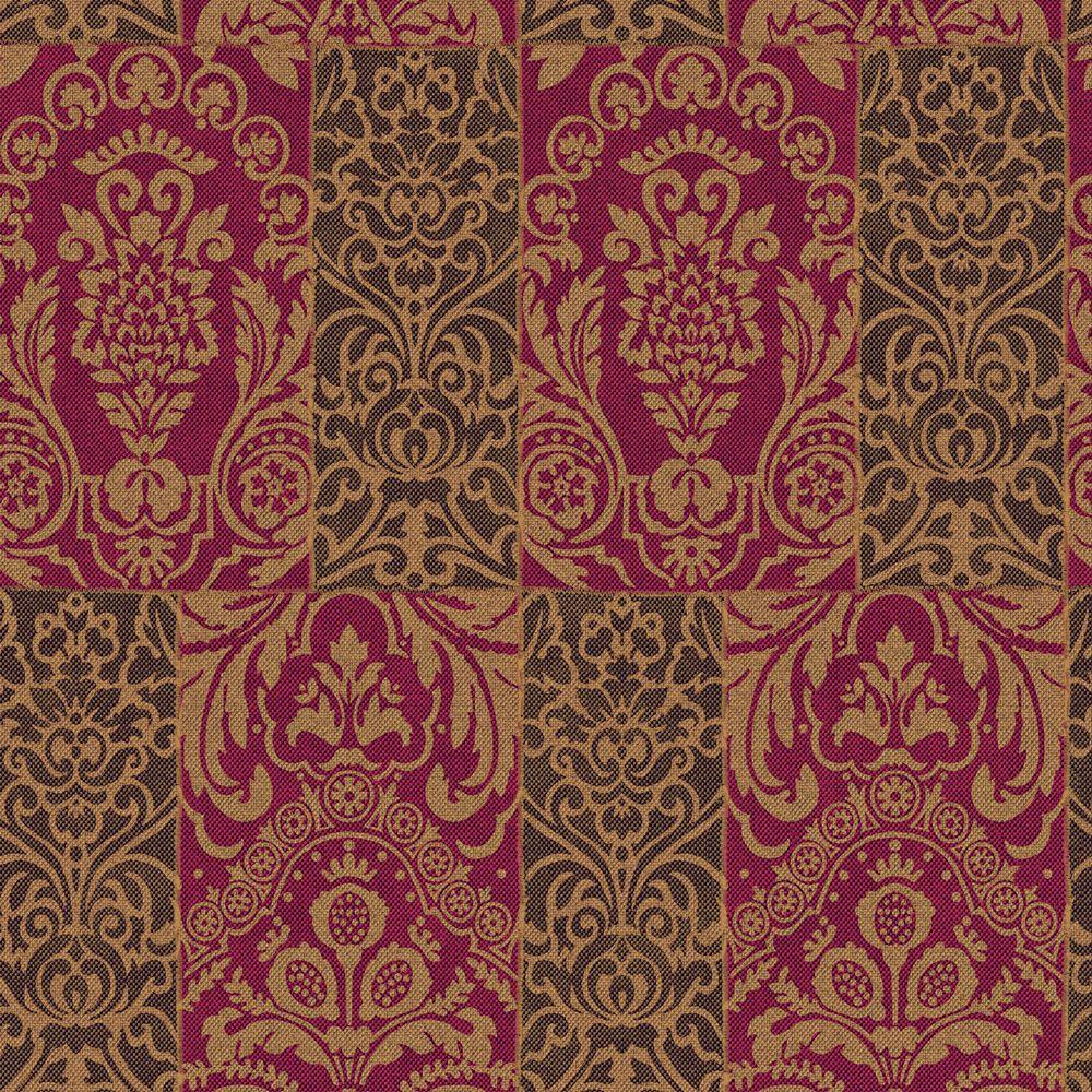 The Wallpaper Company 8 in. x 10 in. Metallic Random Paneled Damask Wallpaper Sample