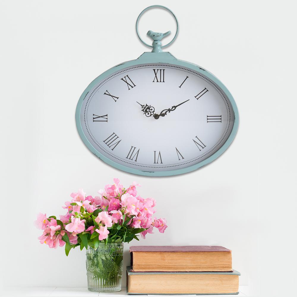 Stratton Home Decor Shabby Pocket Watch Wall Clock