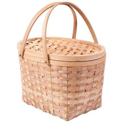 Extra Large Wood-Chip Picnic Basket with Cover And Drop Down Handles