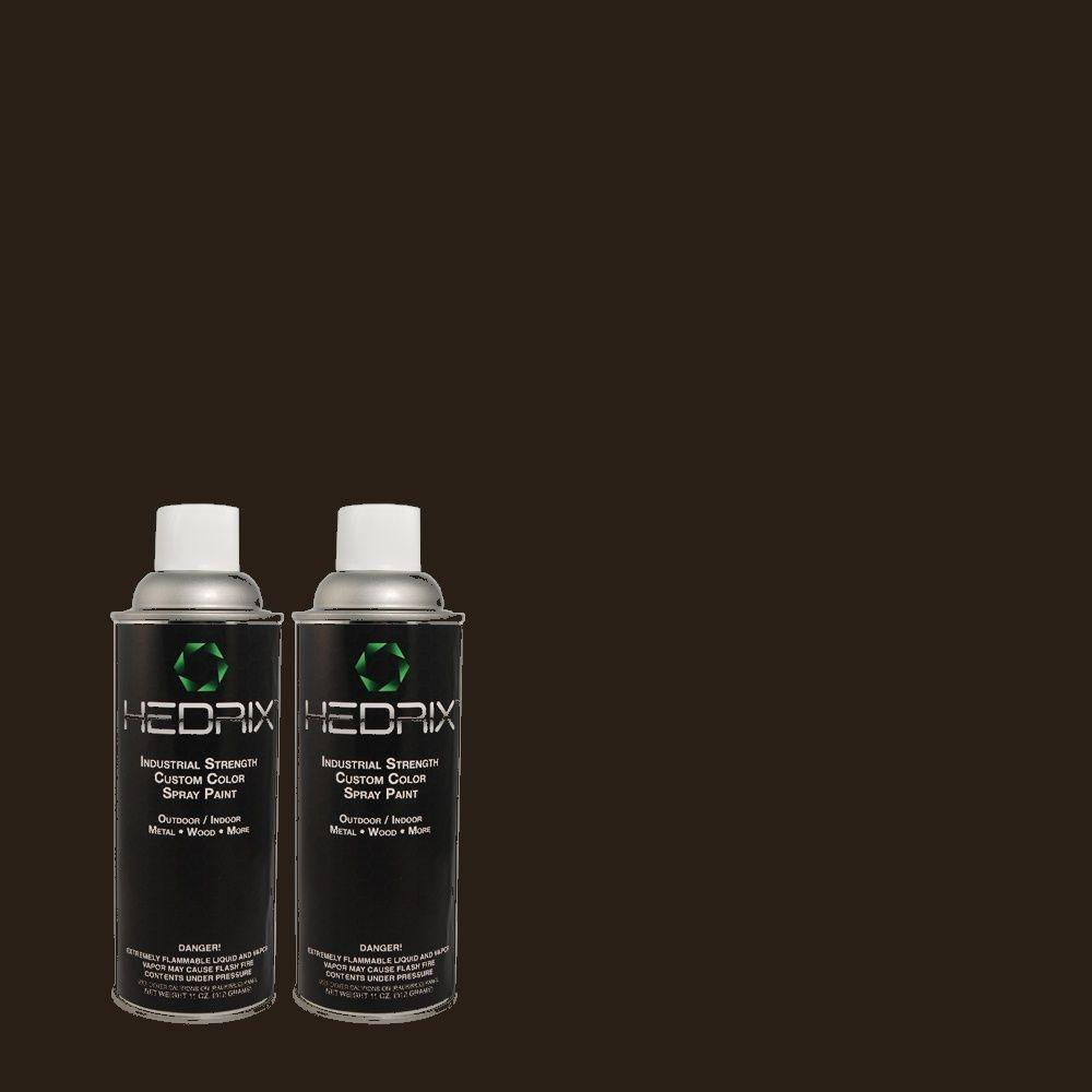 Hedrix 11 oz. Match of PEC-19 Cat Black Semi-Gloss Custom Spray Paint (2-Pack)