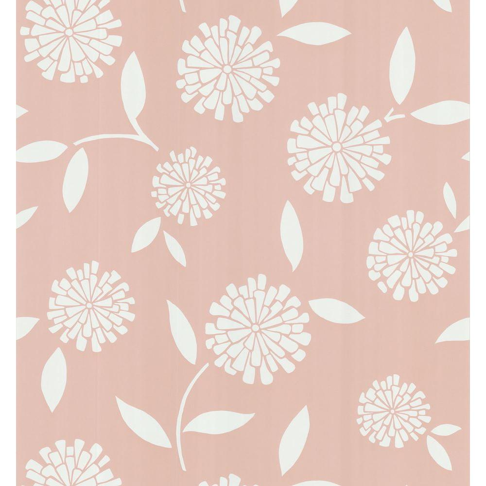 Brewster 8 in. W x 10 in. H Zinnia Flower Wallpaper Sample-DISCONTINUED