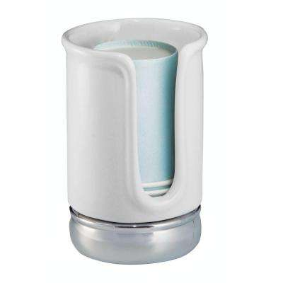 York Disposable Cup Dispenser in White/Chrome