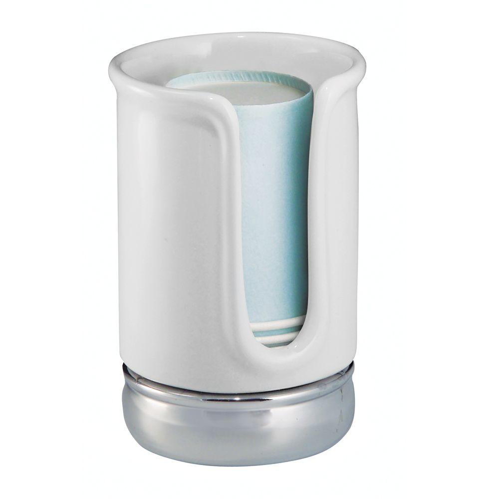 Interdesign York Disposable Cup Dispenser In White Chrome
