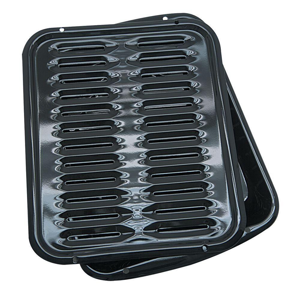 Range Kleen 2 Piece Porcelain Broiler Pan In Black Bp102x