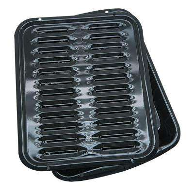 2-Piece Porcelain Broiler Pan in Black
