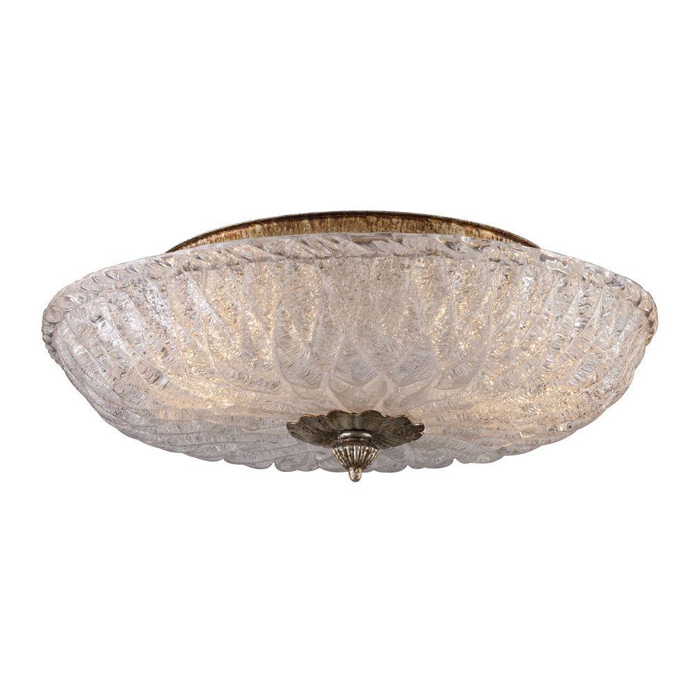 Providence 2-Light Silver Leaf Ceiling Flush Mount
