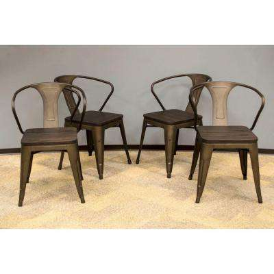 Rustic Gunmetal Dining Chair With Dark Elm Wood Tops Set
