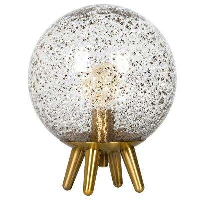 Black Metal Powder 14 in. H and 11 in. W Brass Hand Blown Seeded Glass Table Lamp with Clear Glass Shade