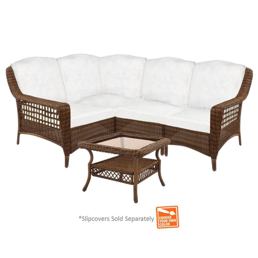 Hampton Bay Spring Haven Brown 5 Piece Wicker Patio Sectional Seating Set With Cushions Included