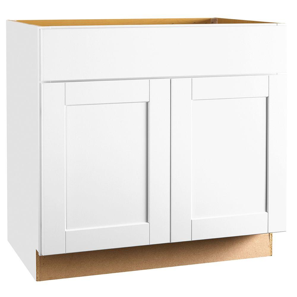 Hampton Bay Shaker Assembled 36x34.5x24 In. Base Kitchen Cabinet With  Ball Bearing